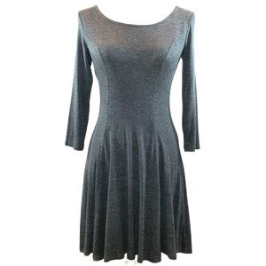 Forever 21 sz S fit n flare long sleeve gray dress